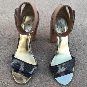 Ted Baker London nude/snake skin  block heels 7